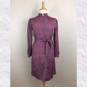 Vintage Long Sleeve Belted Henley Dress